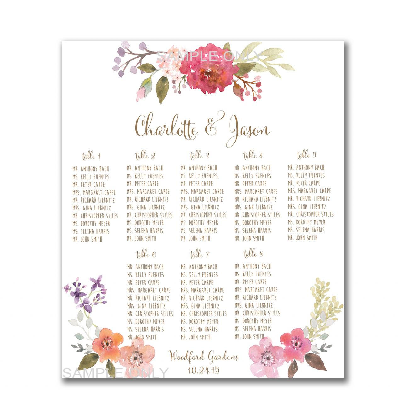 Wedding Table Seating Chart PRINTABLE 50 130 Guests – Guest Seating Chart Template